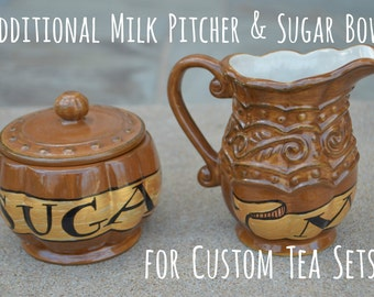 Additional Milk Pitcher and Sugar Bowl for Custom Tea Sets - Made to Order- Supplemental Pieces - Build Your Own - Hand Painted