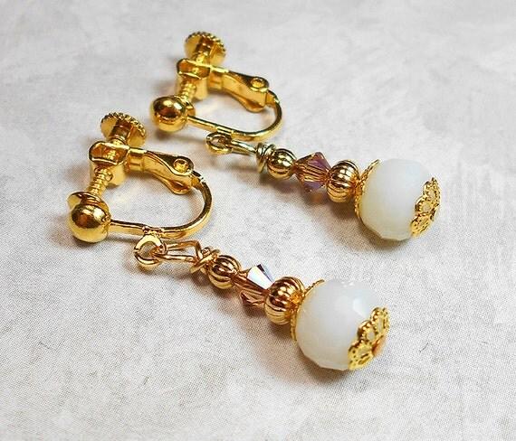 drop earrings back earrings clip on by sharkyswaters