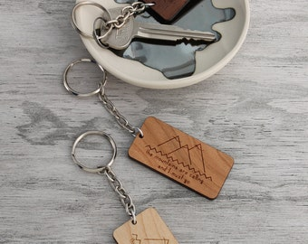 HOLIDAY SALE Wood Keychain, The Mountains Are Calling And I Must Go Laser Cut Wooden Keychain