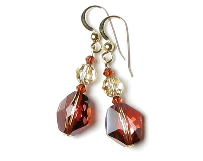 Red Magma Golden Shadow Swarovski Crystal Cosmic Bead Earrings 14K Gold Filled Southwestern Desert Sand Dune Rust Red Autumn Jewelry Gifts