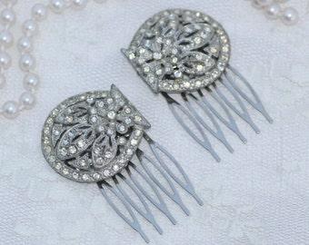 Pair Vintage Art Deco Fur Clip Hair Combs,TRUE Vintage Dress Clips,Gatsby,Bridal Hair Comb,Filigree,Silver Paste Rhinestone,Flapper,Antique