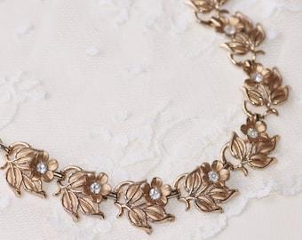 Art Deco Golden Flower & Paste Rhinestone Choker Necklace,Bridal,Weddings,Something Old,Gold Crystal Necklace,1920s,Woodland,Shabby Chic