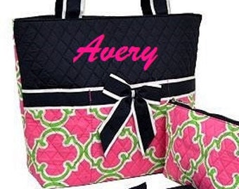 Personalized Diaper Bag Hot Pink Navy Blue Geometric 3pc Set