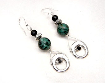 African turquoise earrings with black matt glass & silver accents  // gemstone jewelry // holiday jewelry