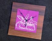 Rabbit Clock, Bunnies Clock, Besties Gift, Reclaimed Wood, Gift for Bunny Lover