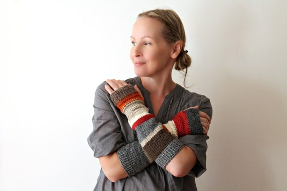 Hand knit arm warmers / urban rustic figerless mitts / long cottage chic arm cozy / pumpkin orange / earthy brown / apple red / rustic gray