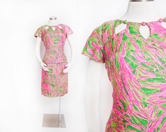 Vintage 1960s Dress - Silk Neon Pink & Green Printed Keyhole Dress 60s - Large