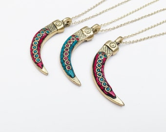 Blue or Red Nepal Coral/Turquoise Inlay Horn Pendants on Brass Chain Necklaces