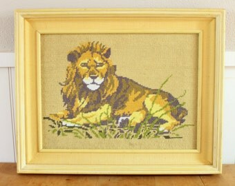 Lion Needlepoint Embroidery Framed