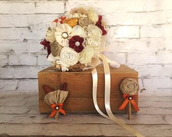 Rustic bridal bouquet ,matching men boutonnieres, orange ivory bouquet, woodland wedding bouquet