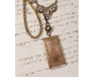 The Golden Hour- Antique Card Holder, Freshwater Pearl, Rhinestone- Long Necklace- Vintage Assemblage Jewelry by Karen Graham