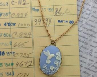 Dreamy Blue Hummingbird Cameo Necklace