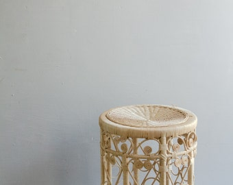 Vintage Scrolled Rattan Table