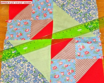 """Vintage 1930s-40s Quilt Block Feedsack Fabric Cotton Print Green Red Blue Brown 9.5 9-1/2"""" Square Machine Sewn Square Clean Project Ready #1"""