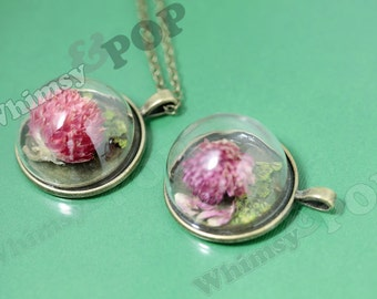1 - Antique Bronze Glass Dome REAL Dried Flower Pendant, Flower Terrarium, Terrarium Charm, Terrarium Pendant, 32mm (R6-063)