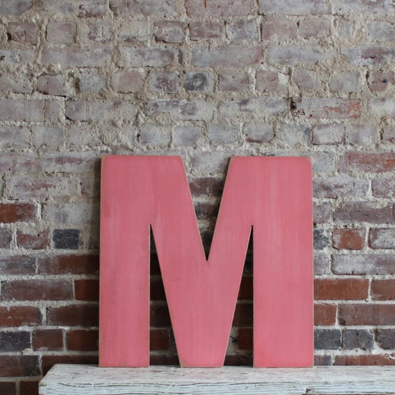 "24"" Wooden Letter M, Bold Style in Distressed Fig- all letters available in many colors"