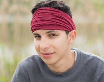 Men's Soft Headbands Dark Red Soft Head Wrap Jersey Knit Headwrap Hippie Head Scarf Thick Hair Band Stretchy Bandana (#2854) S M L X