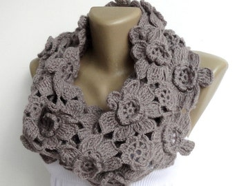 ON SALE // Scarf Women Alpaca Scarf Infinity Scarves Lariat Scarf Chunky Scarf Circle Scarf Crochet Floral Scarf Gifts For Her