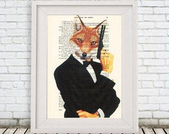 james fox print, hollywood print, spectre, 007 inspired art, black and white, wall art prints, gun art, james bond print, woodland wall art
