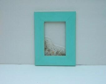 Beach Decor Picture Frame,  Distressed Picture Frame, Beach Theme Decor, 4 X 6 photo, Aqua Frame, Starfish, Sea Shell # 503