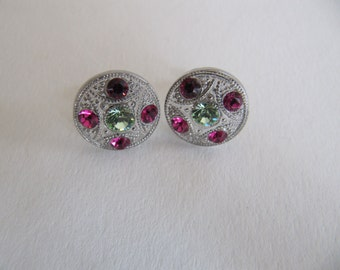 Rhinestone Stud earrings from vintage glass buttons, green button earrings, silver trimmed glass studs, small hypoallergenic post earrings