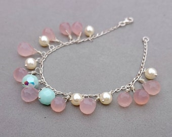 RESERVED Pink Chalcedony Bracelet with  Swarovski Pearl, Mint Swarovski Crystal and Sterling Silver