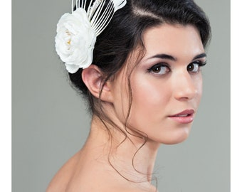 Reserved White Bridal Headband - Feather Headband with Swarovski Crystal and Freshwater Pearl - Bridal Headpiece