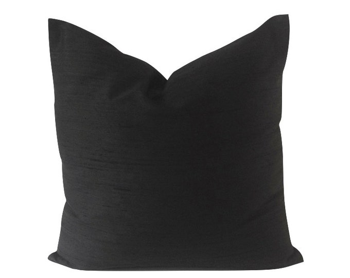 Black Silk Dupioni Decorative Pillow Cover -5 COLOR CHOICES - Invisible Zipper Closure- Knife Or Pipping Edge