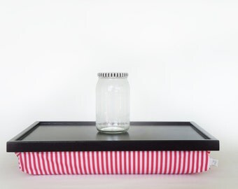 Breakfast serving pillow tray, laptop stand, riser - black with watermelon pink and white striped Pillow