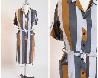 1950s Vintage Day Dress • Saturday Smiles • Bold Striped Rayon Linen Vintage 50s Shirt Dress with Pockets and Matching Belt Size Large