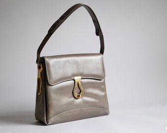 Vintage 1960s Gray Leather Kelly Style Handbag Purse Shoulder Bag