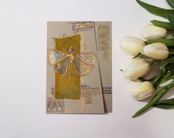 Light green and golden dragonfly - yellow olive green  - handmade blank greeting card for any event - original artwork mixed media art OOAK