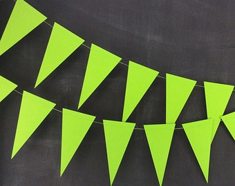Green Pennant 6ft Garland: Rainbow Birthday Party, Christmas Garland, Art Birthday Party, Green Wedding, Photo Backdrop, Mardi Gras Garland