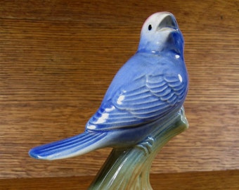 Vintage Perching Bird Ceramic Figurine Lovely Deep Blue with Red Rose Colored Cap Head on Branch Watching Aviary Lover