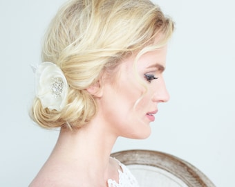 Ivory Bridal Flower Clip with Lace and Crystal Jewel Wedding Accessories