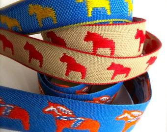 Dala Horse Woven Ribbon-Blue and Yellow-Swedish Ribbon-Dalahasten-Scandinavian Ribbon-Folk Horse-Scandi Pattern-Christmas, Winter Dala Trim
