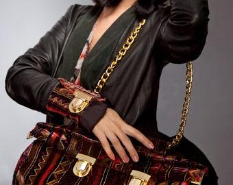 Velvet Cuff and Handbag, Tribal Pattern, Fashion Accessories, Maroon & Gold Purse, Secret Wallet, Matching Set, Bags and Purses- Kenya