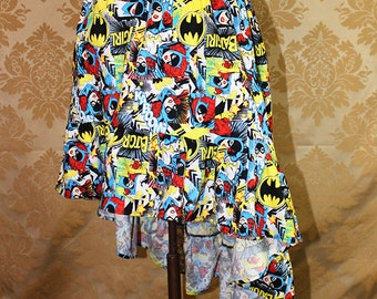 "High Low Mini Cecilia Skirt -- Batgirl Print -- Ready to Ship -- Fits Up To 38"" Waist"