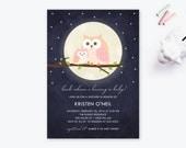 Printable Baby Shower Invitation, Owl Baby Shower, Starry Invitation