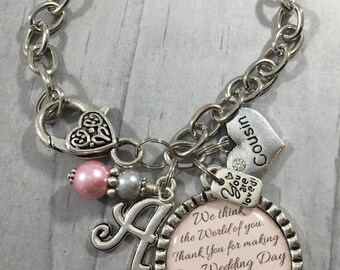 Gift for Cousin. Thank You Gift. Family of the Bride and Groom. Personalized Jewelry. Friend of the Bride. Wedding Planner. Champagne Pink