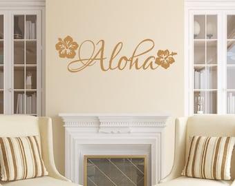 Aloha Vinyl Wall Decal - Beach Decal - Flower Wall Decal - Hawaiian Beach Decor 22551