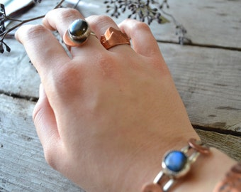 stacking ring - mountain ring - size 7 - copper ring - sterling ring