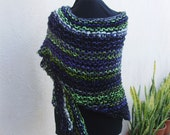 Neon Green and Purple Knit Wrap--The Insect Knit Shawl