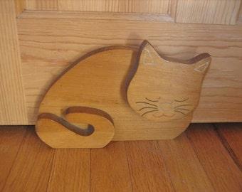 Primitive Wooden Wedge Cat Door Stop Handmade in Maine 1960s