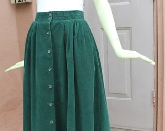 1980s Vintage Green Corduroy Skirt with Pockets Small