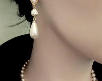 Bridal jewelry - Gold pearl earrings - Long, Pearl drop earrings - Cubic zirconia's - Brides earrings - Wedding Jewelry - Anniversary gift