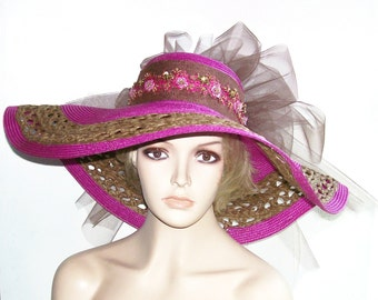 Ladies Purple Hat, Extra wide brim, Kentucky Derby Hat, Garden Party Hat or Victorian Tea Party