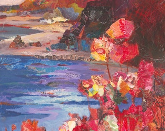 Original Painting of Oregon Coast with red flowers // mixed media // canvas