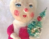 Spun cotton Vintage craft Christmas ornament Santa's helper with bottle brush tree'  by jejeMae