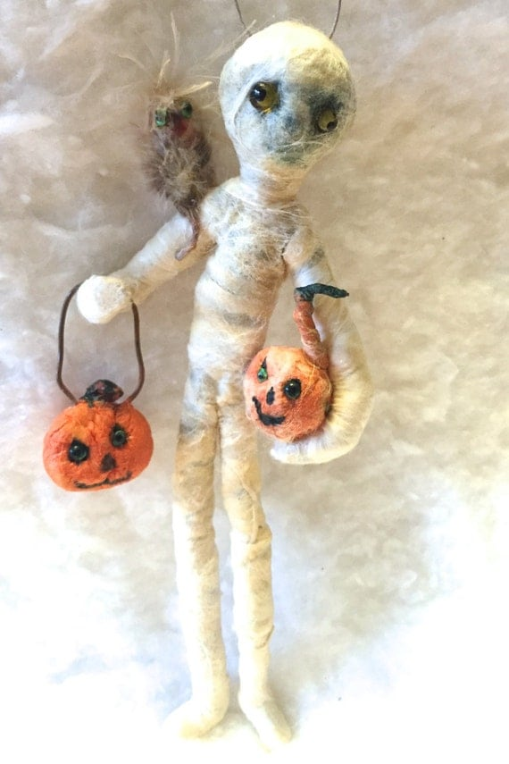 Spun Cotton Halloween Ornament Mummy Boy Owl Pumpkin OOAK Vintage Craft